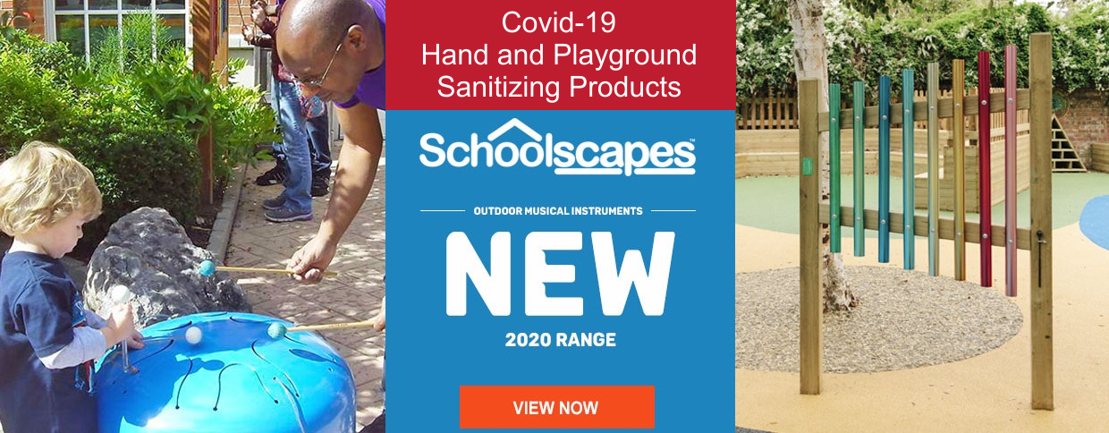 Playground and hand sanitizing. Outdoor Musical Instruments and Playground Equipment