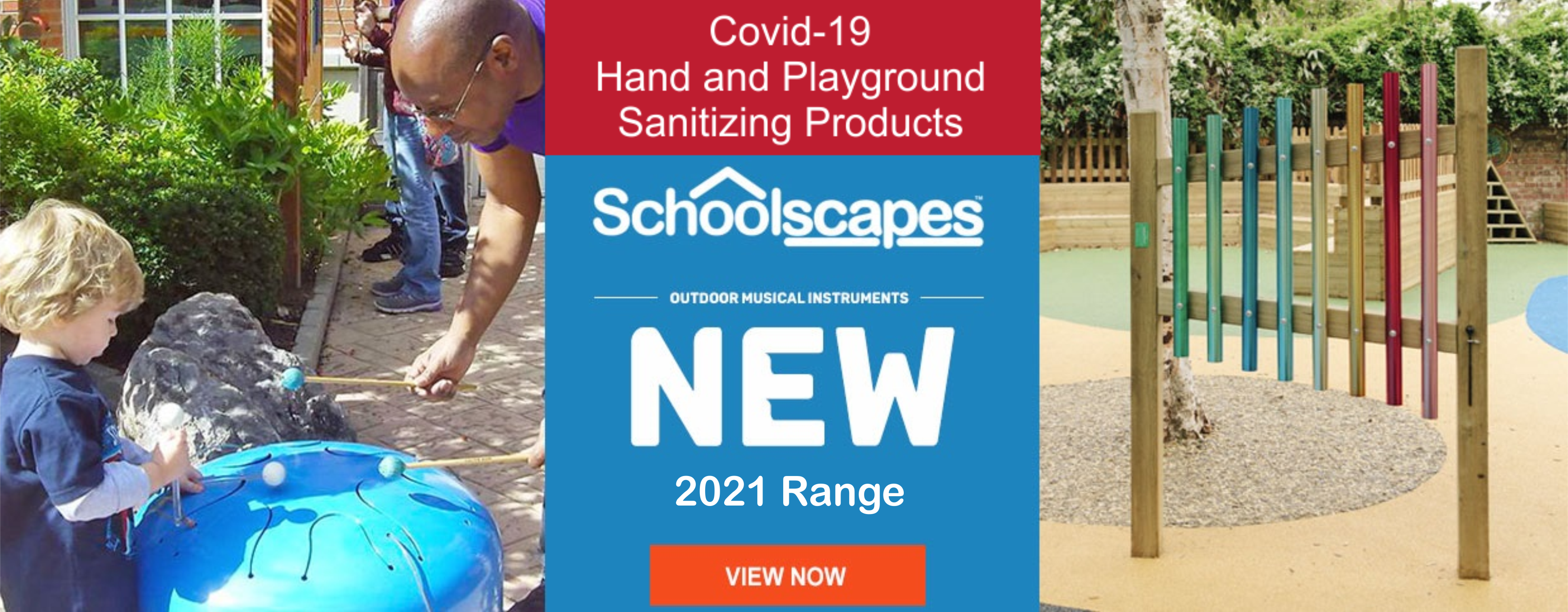 Schoolscapes 2021 range of outdoor musical instruments, play equipment and sanitizing products